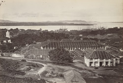 Moulmein. The Jail, with Salween River, the Martaban Hills in the distance